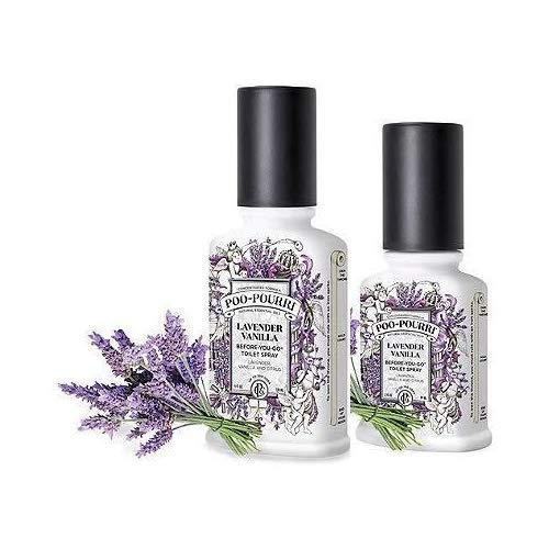 Poo-Pourri Preventive Bathroom Odor Spray 2-Piece Set, Includes 2 4-Ounce Bottle, Lavender Vanilla, Clear