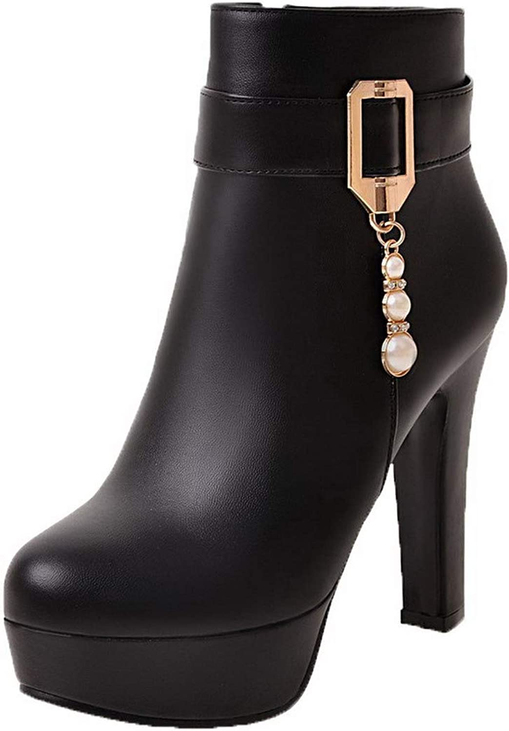 WeenFashion Women's Closed-Toe Ankle-High High-Heels Solid Pu Boots, AMGXY117008