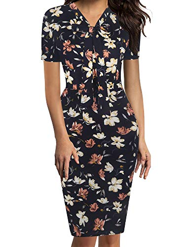 oxiuly Women's Retro 1950s Style Bow Tie V Neck Slim Business Pencil Work Dress OX299 (M, OW Floral)