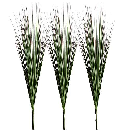 Aisamco 3 Piezas Plantas Artificiales Cebolla Hierba Zonas Verdes Faux Arbustos Falsos Planta Flores Trigo Hierba Hojas Falsas Arbustos 64cm de Altura para el hogar Oficina Boda Jardinería Decoración