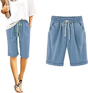c4671b70b3 Minetom Donna Estate Casual Taglie Forti 7/8 Lunghezza Elasticizzati  Pantaloni Eleganti Coulisse Elastico Cotone