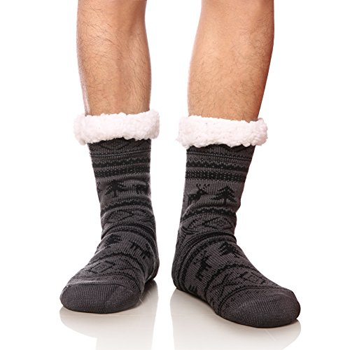 MIUBEAR Mens Thick Heavy Warm Fleece Fuzzy Winter Christmas Deer Slipper Socks (Dark Grey)