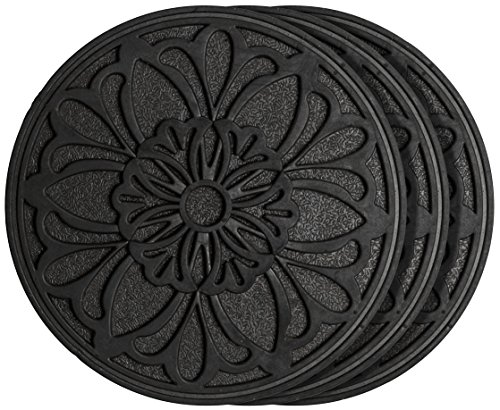 HF by LT Rubber Victorian Garden Stepping Stone, 11-3/4 inches, Black, Set of 3