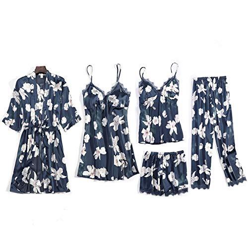 Dames Pyjama,5 Stuks Luxe Dames Pyjama Sets Bloemenprint Vrouwelijk Kant Zijde Lounge Lingerie Nachtkleding Homewear