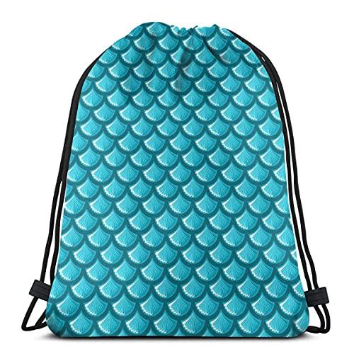 Lmtt Mochila con cordón, patrón de escamas de pescado, deportes, gimnasio, mochila, bolsa de viaje