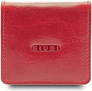 GIUDI ® portafoglio in pelle vacchetta, vera pelle, uomo donna unisex, portamonete in vera pelle, Made in Italy (Rosso)