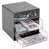 mDesign organiseur de bureau en plastique résistant – tour de rangement à cosmétiques pratique 3 tiroirs – boite de rangement plastique chic avec poignées chromées – gris ardoise/transparent