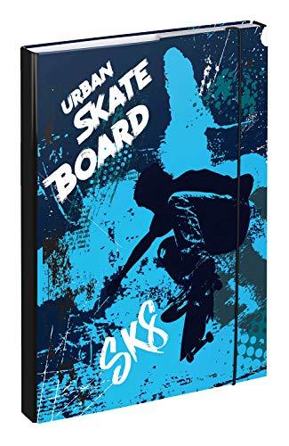 Baagl Heftbox für Schulranzen A4 - Sammelmappe für Kinder mit Gummiband und Innenklappen - Heftmappe, Sammelbox mit Gummizug für Jungen (Skateboard)