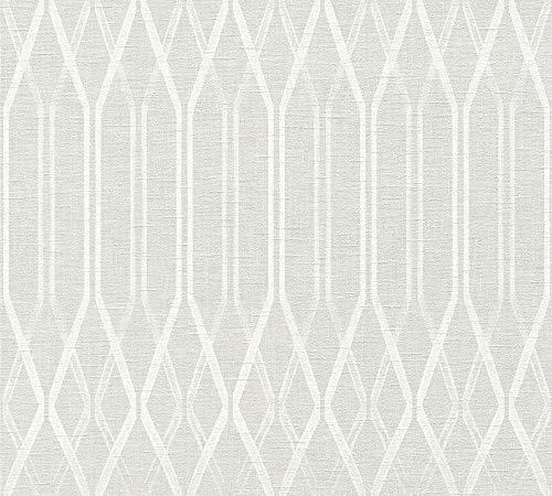 A.S. Création Vliestapete Linen Style Tapete geometrisch grafisch 10,05 m x 0,53 m grau weiß Made in Germany 366321 36632-1