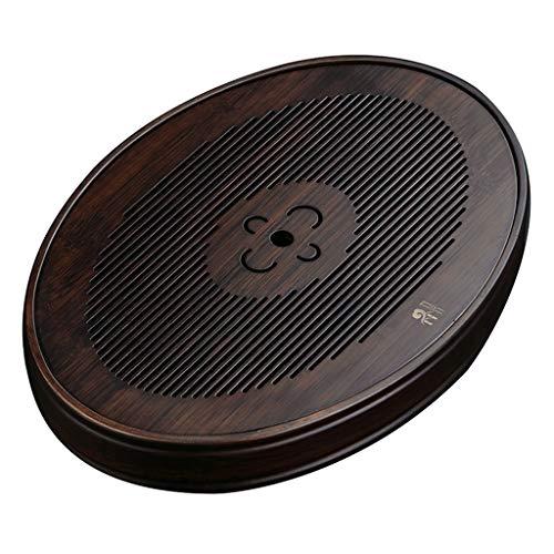 Vorratsdosen Bambus-Tee-Tablett Haushalt Wasserlagerungstyp Kleiner Teetisch Modern Einfache Abflussablage Massivholz Trockenschaumtisch (Color : Black-Brown, Size : 36.2 * 25.5 * 5.3cm)
