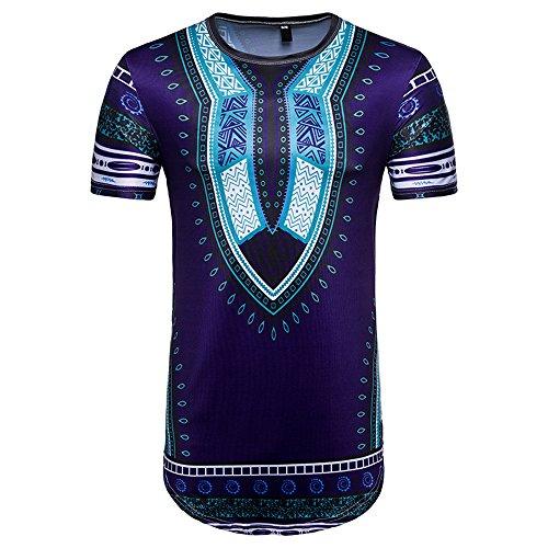 tuduz diseño nuevo hombres de verano Casual africana/Tailandia estilo impresión de la obra O cuello manga corta Jersey camiseta Slim Fit Top blusa, Morado, Small