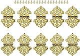 10 unids joyería caja de madera cajón armario decorativo bisagra puerta muebles muebles bisagras antiguo bronce/oro 53x28mm (Color : B)