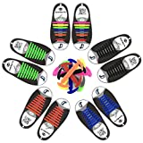 Dierlin Cordones de Silicona, No Hay Necesidad de Atar, sin corbata Cordones de zapatos para niños y adultos, Cordones Zapatos Elasticos (5 pack(azul + naranja + verde + multicolor + negro))