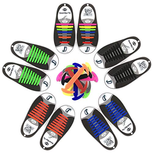 Cordones de Silicona, No Hay Necesidad de Atar, Sin Corbata Cordones de Zapatos para Niños y Adultos, Cordones Zapatos Elasticos para Calzado Deportivo Zapatos Casuales