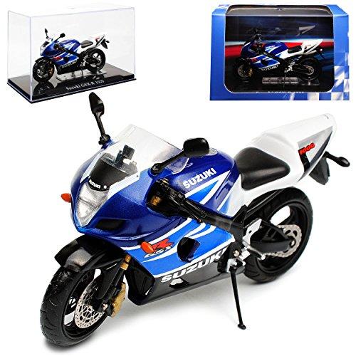 Atlas Suzuki GSX-R 1000 Blau Weiss mit Sockel und Vitrine 1/24 Modell Motorrad mit individiuellem Wunschkennzeichen