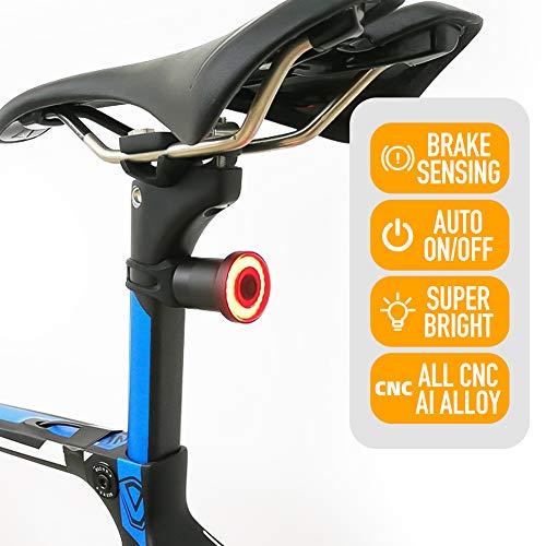 ENFITNIX Fahrradrücklichter XLite100 USB Wiederaufladbares Rücklicht Automatische Bremserkennung LED-Licht Intelligentes Rücklicht IPX6 wasserdichte Nachtwarnung (XLite100 Sattelstütze Montage)