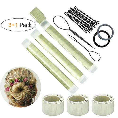 Set d'Outils de Coiffure Bofekt Chignon Magique Bande de Chignon Bun Maker Set Accessoire de Cheveux pour Filles Femmes-3 Pack(Blanc)