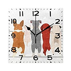 Naanle Cute Cartoon Dogs Pattern Square Wall Clock, 8 Inch Battery Operated Quartz Analog Quiet Desk Clock for Home,Office,School