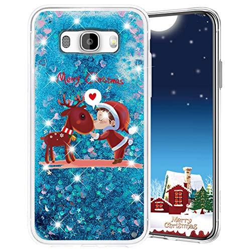 Misstars Cover per Galaxy J5 2016, Glitter Liquido di Natale Custodia Trasparente TPU Silicone Protettivo Morbido Brillantini Case per Samsung Galaxy J5 2016 / J510, Cervo e Ragazzo