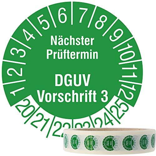 Labelident Mehrjahresprüfplakette 2020-2025 - Nächster Prüftermin DGUV Vorschrift 3 - Ø 15 mm, 1000 widerstandsfähige Prüfplaketten auf Rolle, Vinyl, grün, selbstklebend