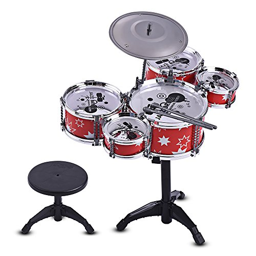 Muslady Kit de batterie Jazz Jouet d'instrument éducatif éducatif 5 tambours + 1 cymbale avec de petits bâtons de tambour de tabouret pour des enfants