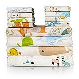 Baby Musselin Swaddle Decke und Waschlappen, 12 Stück Bambus Baumwolle Gesichtstuch, Multifunktionales Babytuch, Baby Handtücher oder Wickeldecke, Weich und atmungsaktiv, tolles Geschenk für Babies