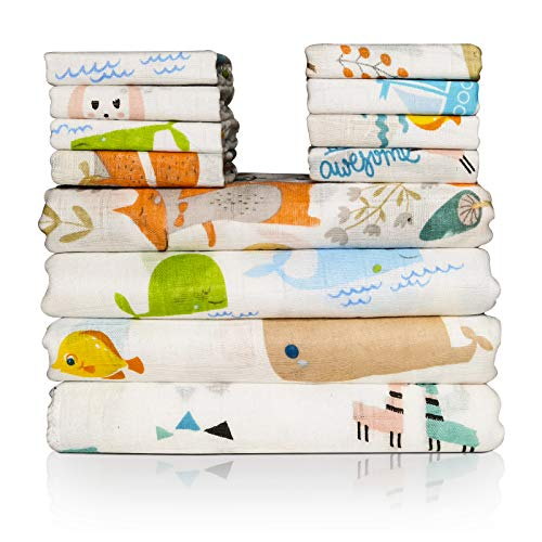 Manta y Toalla de Muselina para bebé, 12 Piezas de Toalla Facial Infantil de bambú y algodón, Toalla Multifuncional para bebé, Babero para bebé o arrullo, Suave y Transpirable