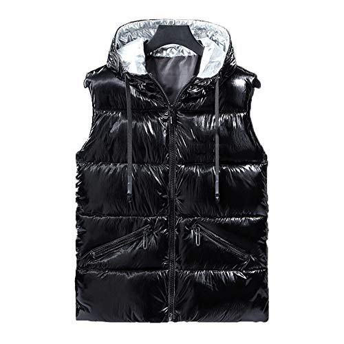Heren Zilveren Gilet Herfst En Winter Helder Down Katoen Vest Mouwloos Casual Hooded Jacket