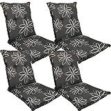 DILUMA Niedriglehner Auflage Naxos für Gartenstühle 98x49 cm 4er Set Blume Schwarz - 6 cm Starke Stuhlauflage mit Komfortschaumkern und Bezug aus 100% Baumwolle - Made in EU mit ÖkoTex100