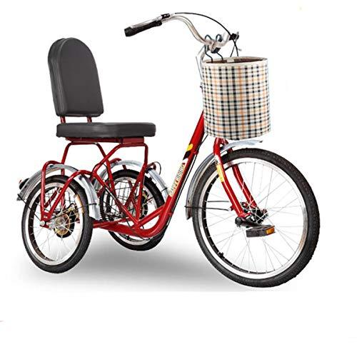 CARTEY Triciclos para Adultos Triciclo De Crucero con Cesta De Compras Delantera Trasera para Personas Mayores Triciclo De Pedales