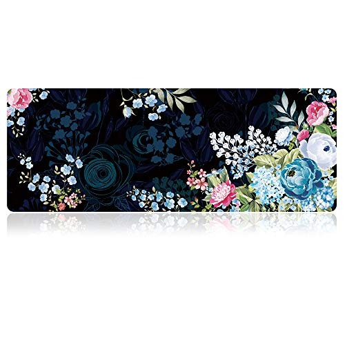 SANFORIN Extra Large Mouse Pad - Floral Design Gaming or Desk Mousepad - 31.5' x 11.8'x0.12''(3mm Thick)- XL Protective Keyboard Desk Mouse Mat for Computer/Laptop, Peony