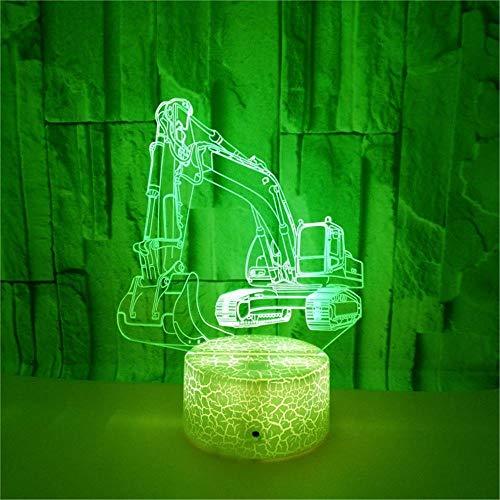 LBJZD 3D Night Light Creative 7 Colors Flashing Excavating Machinery 3D Night Light Crack Base Digging Machine Acrylic Sleeping Lamp Kid's Gift Black Base