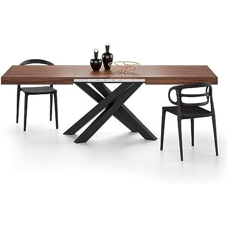 MOBILI FIVER, Table Extensible Emma 160, avec Pieds Noirs croisés, Noyer, Mélaminé/Fer, Made in Italy