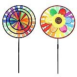 PETSOLA Windmühle Regenbogen & Sonnenblume Windrad Garten Gartendeko Windräder Deko