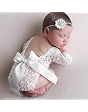 FOONEE Newborn Baby Photography Prop Lace, Baby Girl Romper Outfit Clothes, Newborn Baby Girls Photography Props Lace Romper Photo Shoot Props Outfits