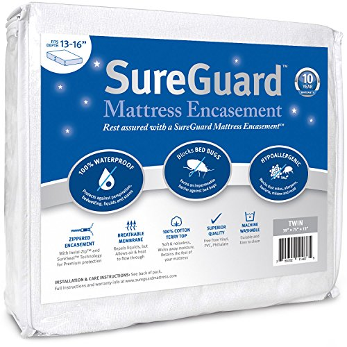 Twin (13-16 in. Deep) SureGuard Mattress Encasement - 100% Waterproof, Bed Bug Proof - Premium Zippered Six-Sided Cover