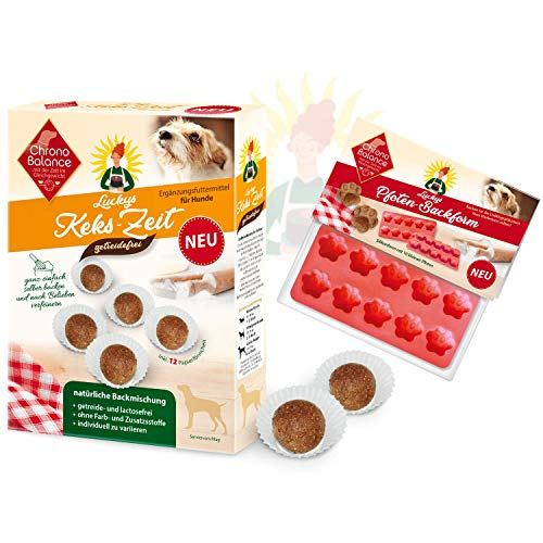 ChronoBalance® Hundekekse, Hundeleckerlies Selbermachen, Leckerli Backmischung für Hunde, lactosefrei, getreidefrei, inkl. 12 Papierförmchen, optional mit Silikon Backmatte/ Backform für Hundesnacks