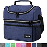 Insulated Dual Compartment Lunch Bag for Men, Women | Double Deck Reusable Lunch Box Cooler with Shoulder...