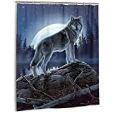 Sherry K-Shower Curtains Duschvorhang Mystic Wolf Bad Vorhang Mit Haken Langlebig Wasserdichtes Gewebe Bad Vorhang Sets (183 cm x 183 cm)