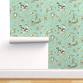 Spoonflower Non-Pasted Wallpaper Universe Child Pirate Space Unicorn Magical Steampunk Narwhal Whimsical Outer Nautical Galaxy Gender Neutral Room Print Swatch 12in x 24in