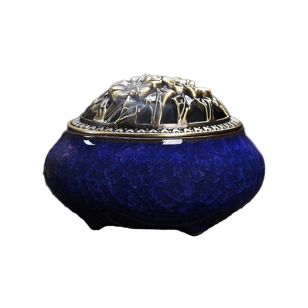 自治的ローマ人ブラシ磁器セラミック香炉灰キャッチャー香スティック/コーン/コイルバーナーホルダーホームルーム仏教の装飾香ホルダー (Color : Blue)