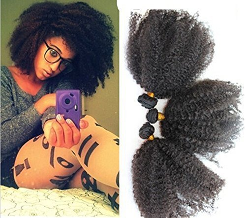 45,7 cm Praida Extensions de cheveux humains bouclés afro Kinky Noir pour Femmes Noir naturel 100 g/un ensemble