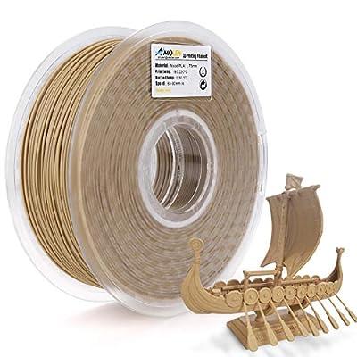 AMOLEN 3D Printer Filament, Wood Color PLA Filament 1.75mm +/-?0.03mm, 1KG, 3D Printing Materials for 3D Printer and 3D Pen