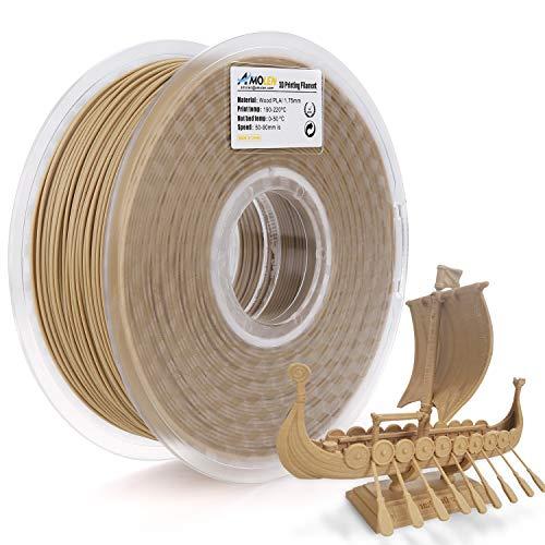 AMOLEN Imprimante 3D Filament PLA 1.75mm, Bois 1KG, Wood Matériel d'impression 3D +/- 0.03 mm, pour Imprimante 3D et Stylo 3D