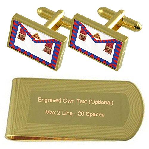 Arco Royal Masonic Regalia directores delantal de tono Oro gemelos Money Clip grabado Set de regalo