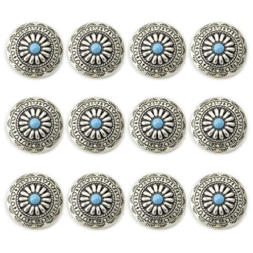 コンチョ ボタン 12個セット ターコイズ 30mm メタルボタン 足つき デージー柄 レザークラフト アクセサリー 手芸 (タイプB)