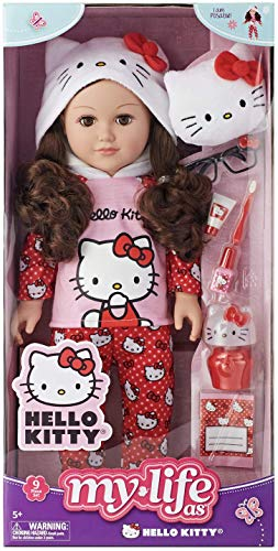 My Life As Hello Kitty Doll, Brunette Hair 18' Posable, 9 Piece Set