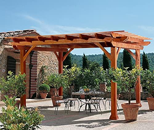 U-MAX Outdoor Pergola 12'x10' Outdoor Wood Deck Garden Patio Gazebo