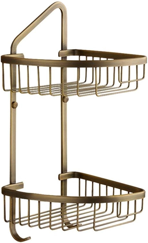 Antique Double-Deck Basket Bathroom Shelf Corner Shelf, Brass, Wall-Mounted, Drawing Process