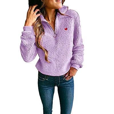 Sufeng Women Warm Long Sleeve Pullover Fashion Zip Neckline Outwear Jackets